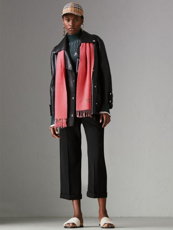 Embroidered Cashmere Fleece Scarf in Coral | Burberry United Kingdom - cell image 2