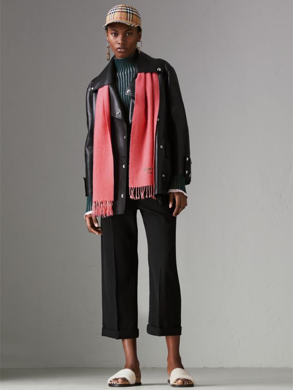 Embroidered Cashmere Fleece Scarf in Coral | Burberry - cell image 2