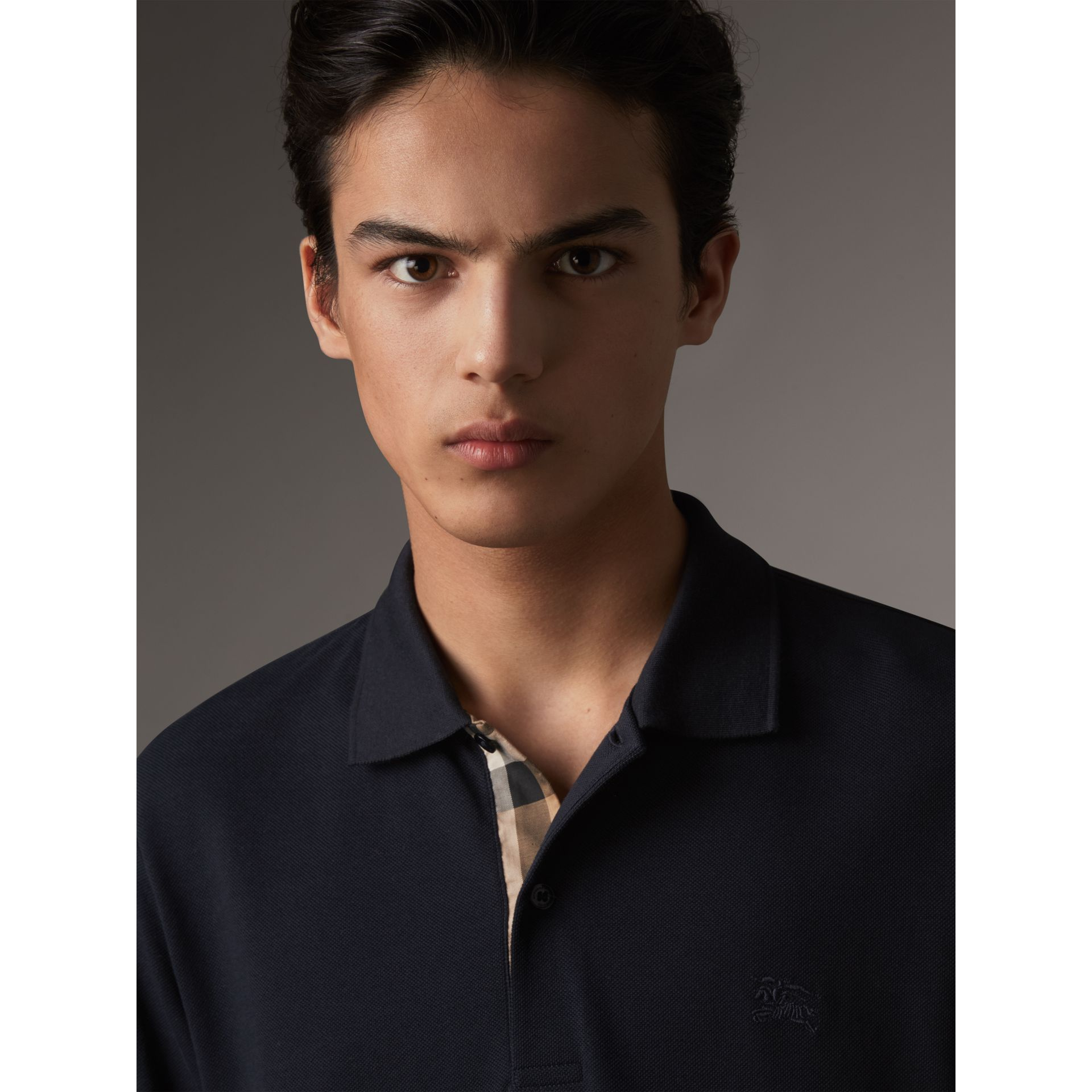 Check Placket Long Sleeve Polo Shirt in Dark Navy - Men | Burberry - gallery image 1