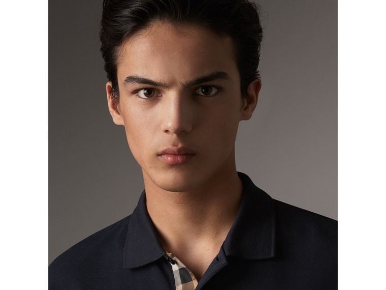Check Placket Long Sleeve Polo Shirt in Dark Navy - Men | Burberry United Kingdom - cell image 1