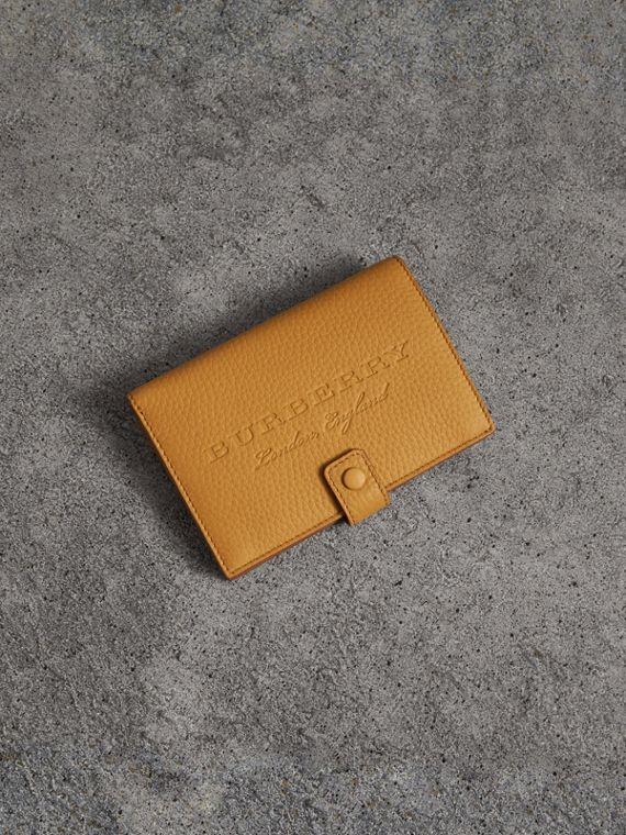 Embossed Grainy Leather Folding Wallet in Ochre Yellow