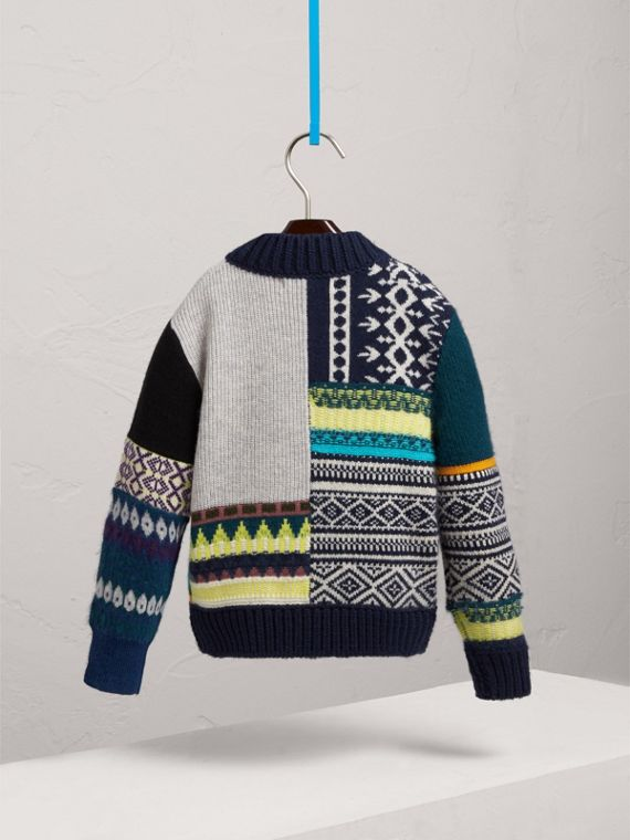 Fair Isle Wool Cashmere Patchwork Bomber Jacket in Navy | Burberry United Kingdom - cell image 3