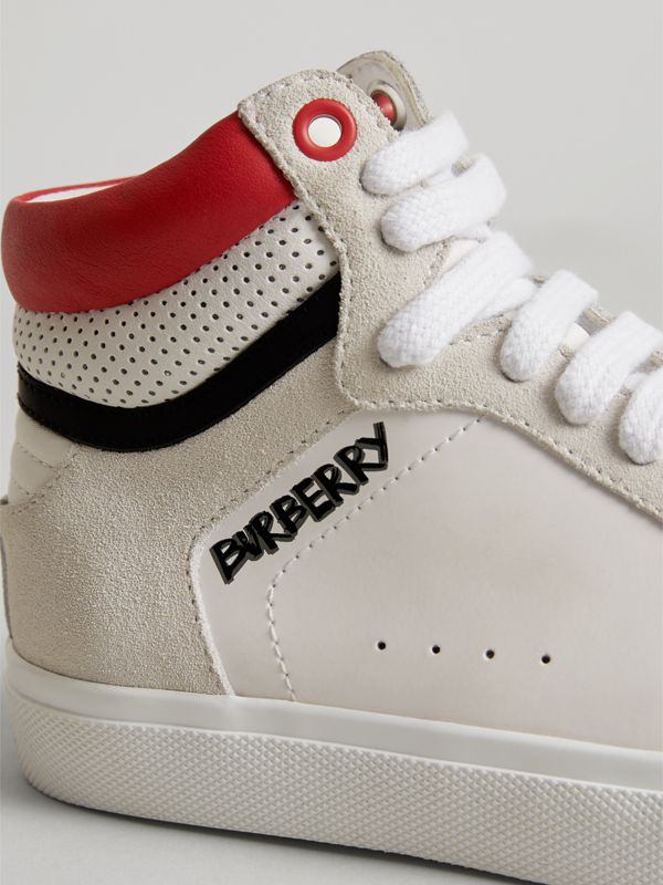 Leather and Suede High-top Sneakers in Optic White | Burberry - cell image 2