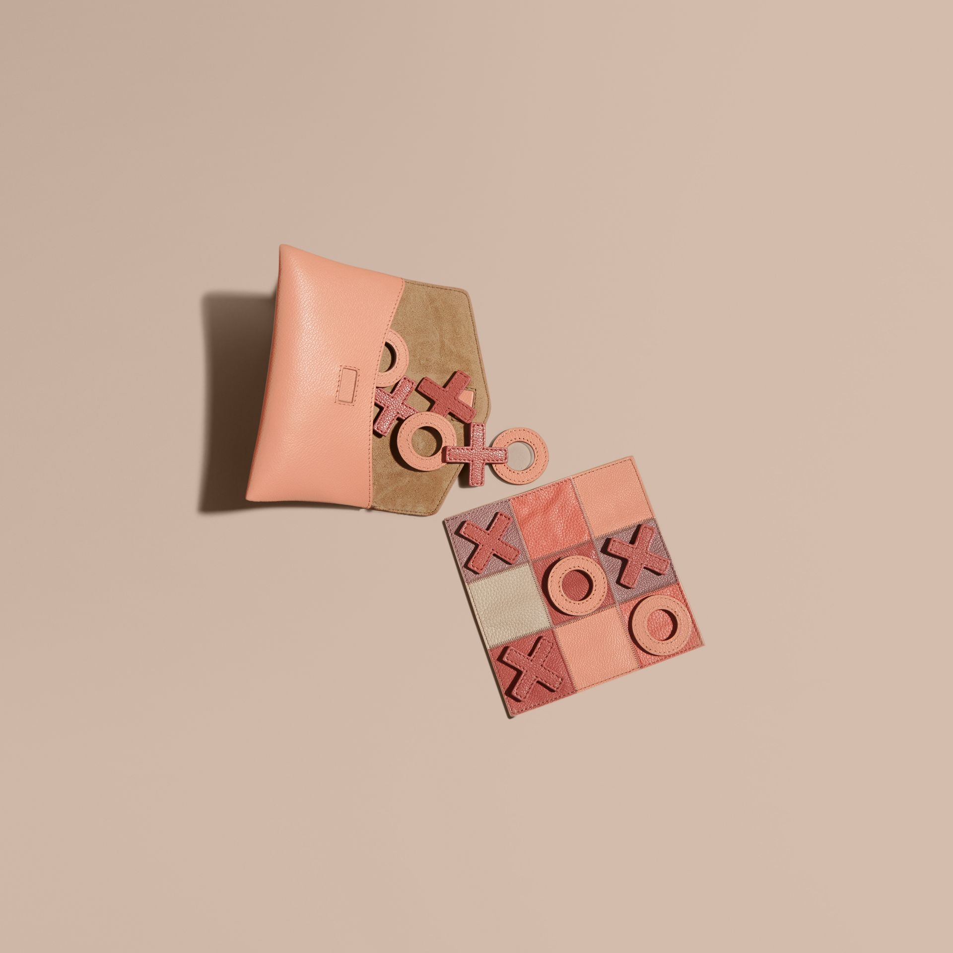 Leather Noughts and Crosses Set and Case in Pink Apricot | Burberry - gallery image 1