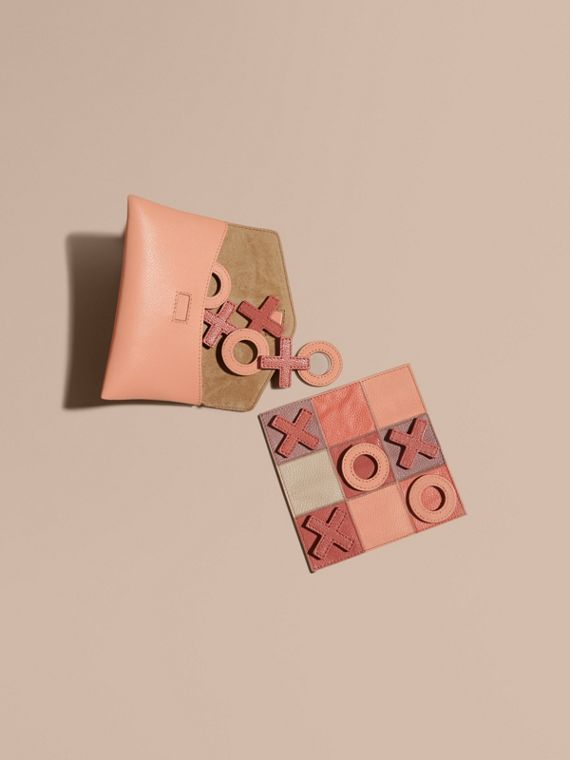 Leather Noughts and Crosses Set and Case in Pink Apricot