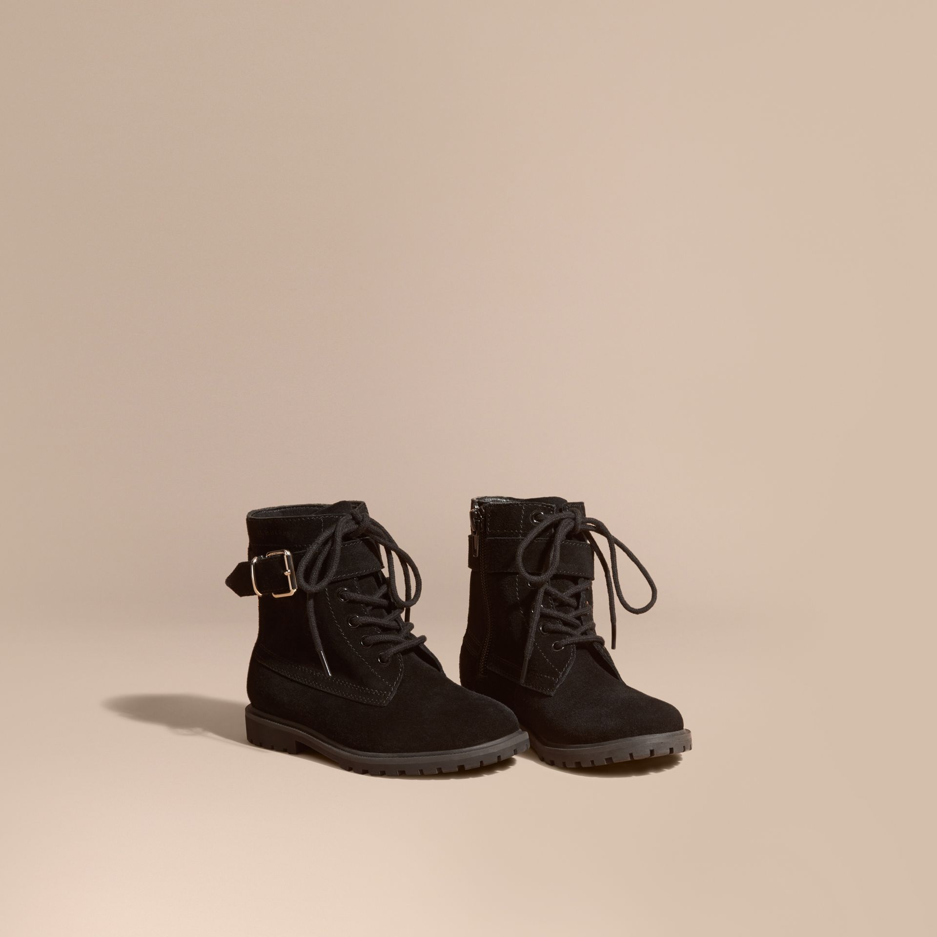 Black Suede Lace-up Boots - gallery image 1