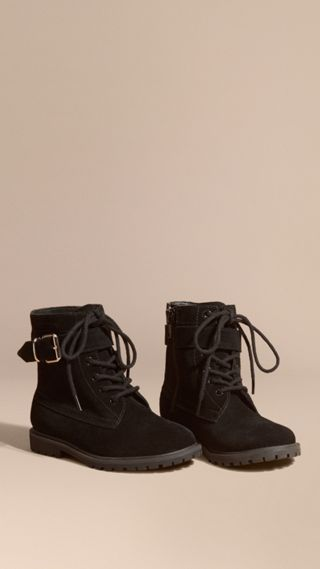 Bottines à lacets en cuir velours