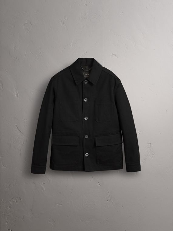 Pallas Helmet Motif Cotton Workwear Jacket in Black - Men | Burberry - cell image 3