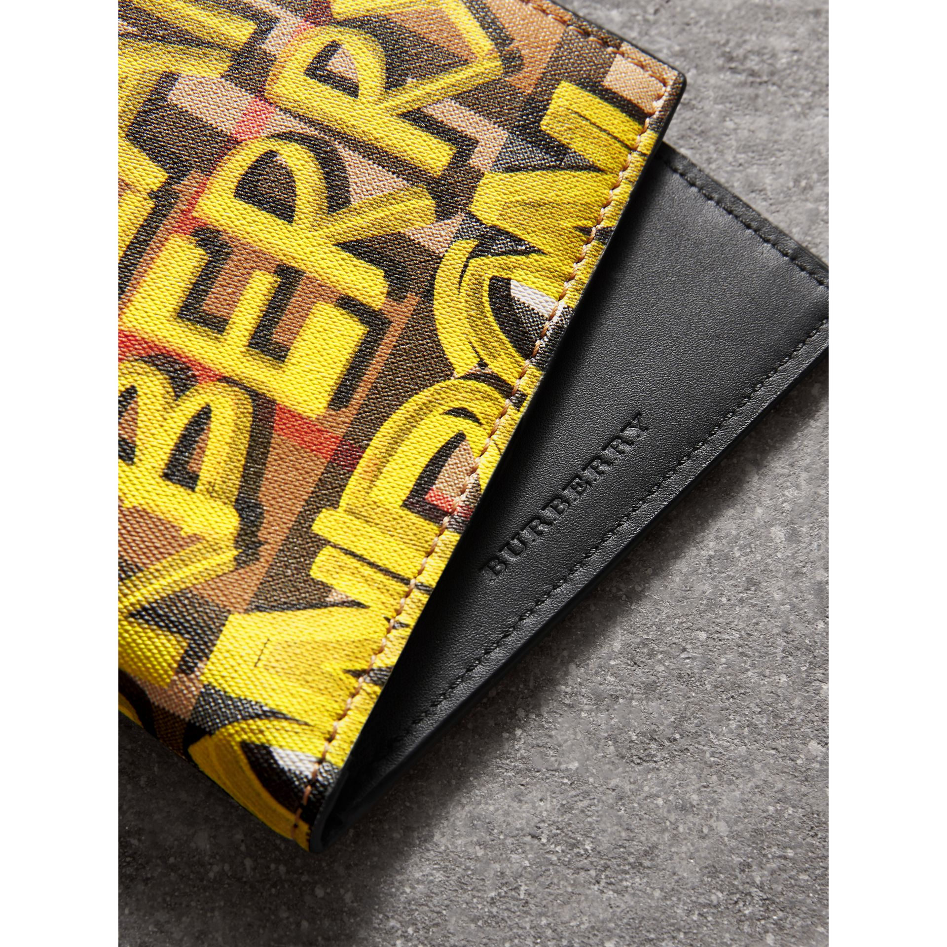 Graffiti Print Vintage Check International Bifold Wallet in Bright Yellow/antique Yellow - Men | Burberry Hong Kong - gallery image 1