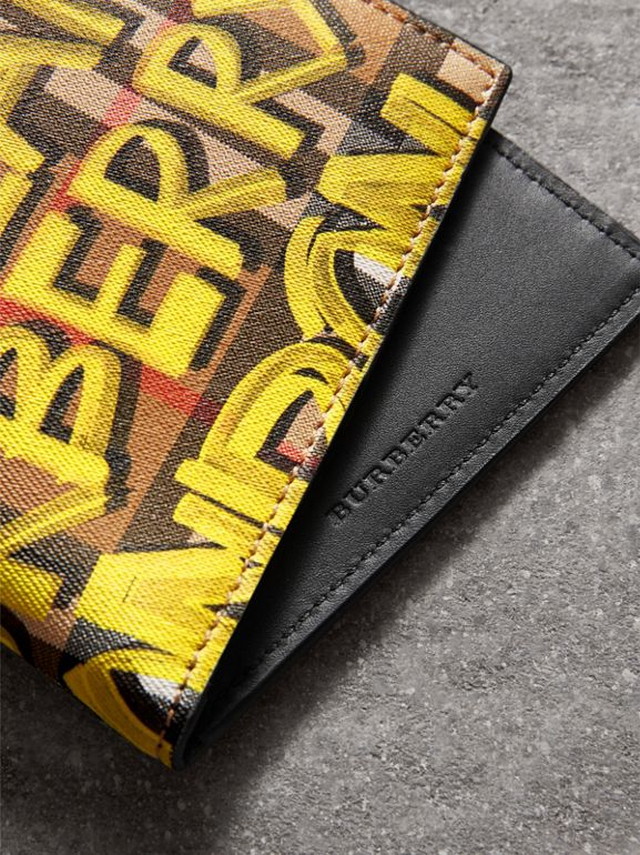 Graffiti Print Vintage Check International Bifold Wallet in Bright Yellow/antique Yellow - Men | Burberry - cell image 1