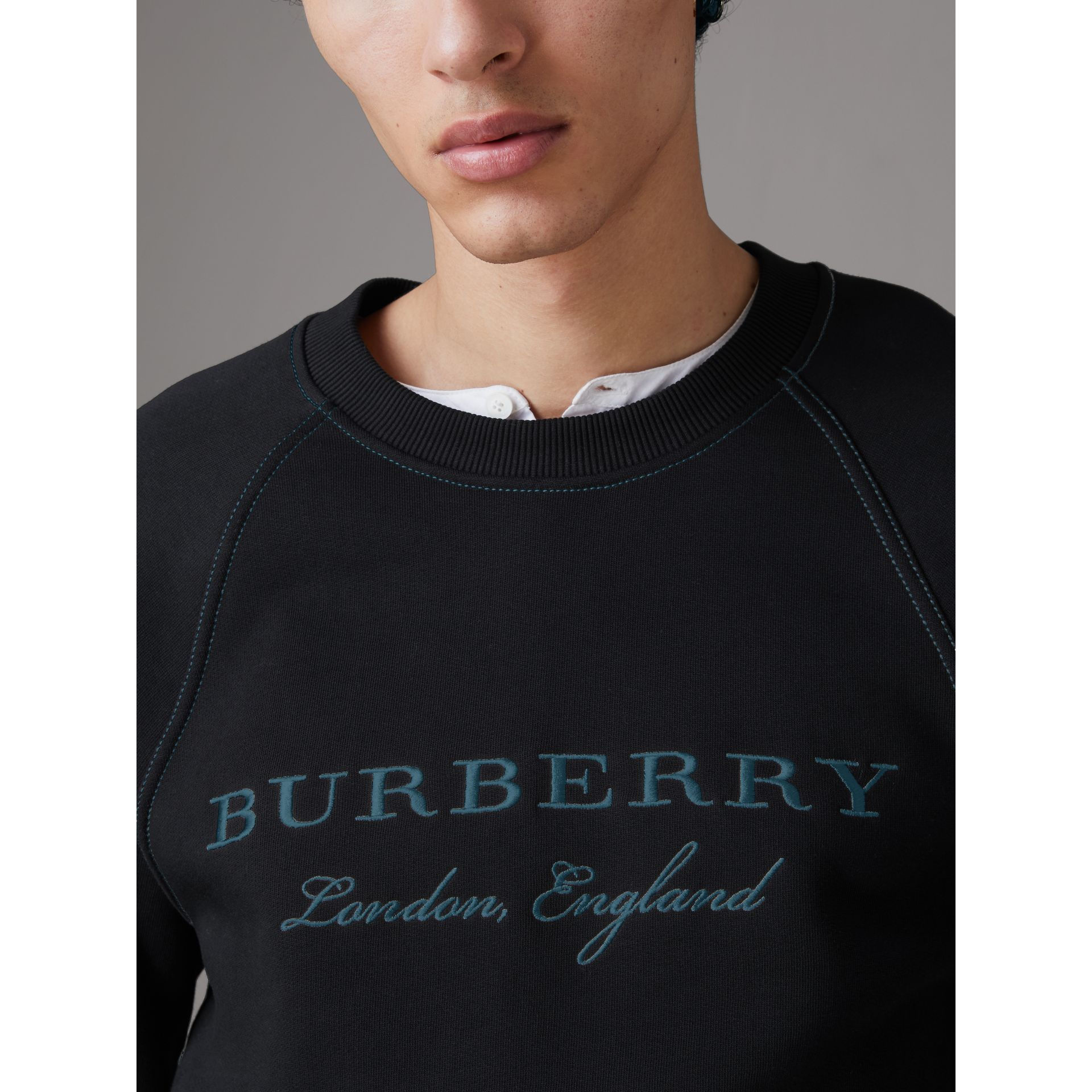 Embroidered Jersey Sweatshirt in Black - Men | Burberry United Kingdom - gallery image 1