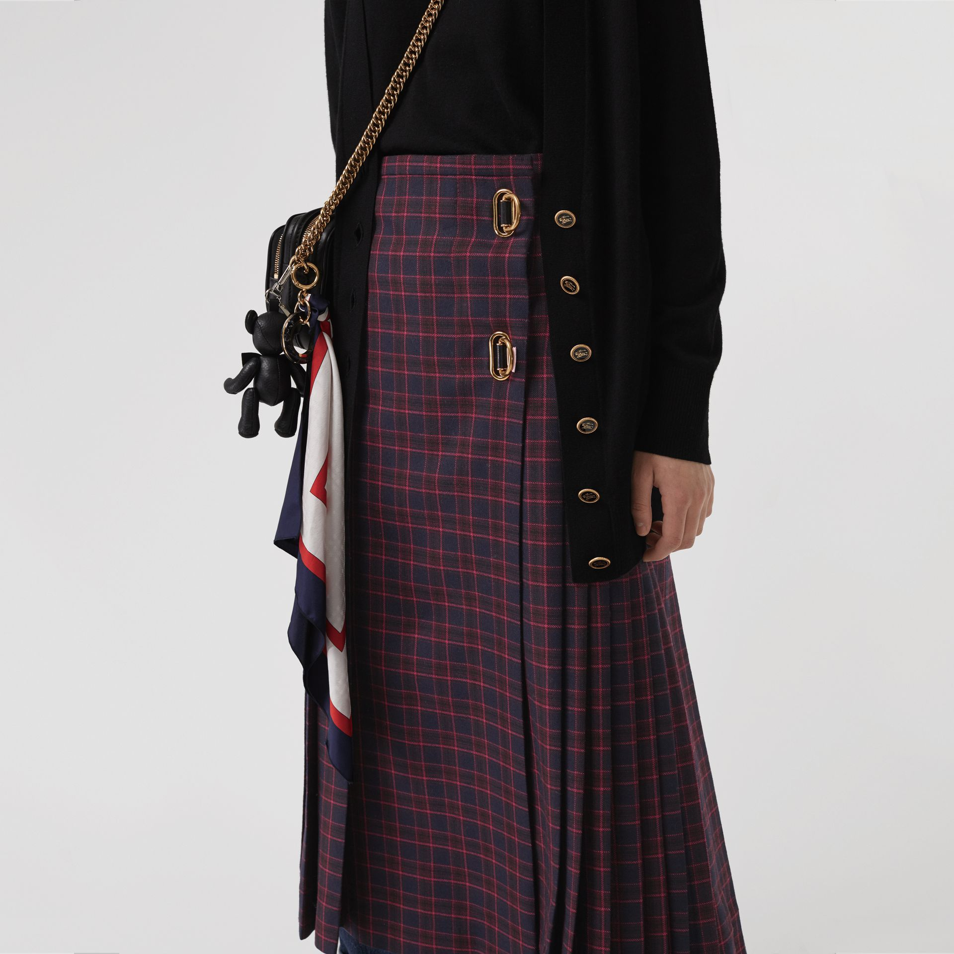 Tartan Wool Long Kilt in Navy - Women | Burberry Canada - gallery image 4
