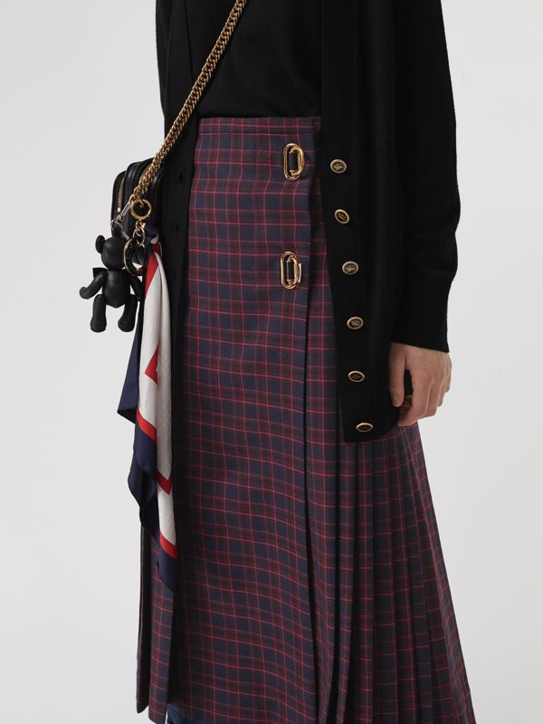 Tartan Wool Long Kilt in Navy - Women | Burberry - cell image 3