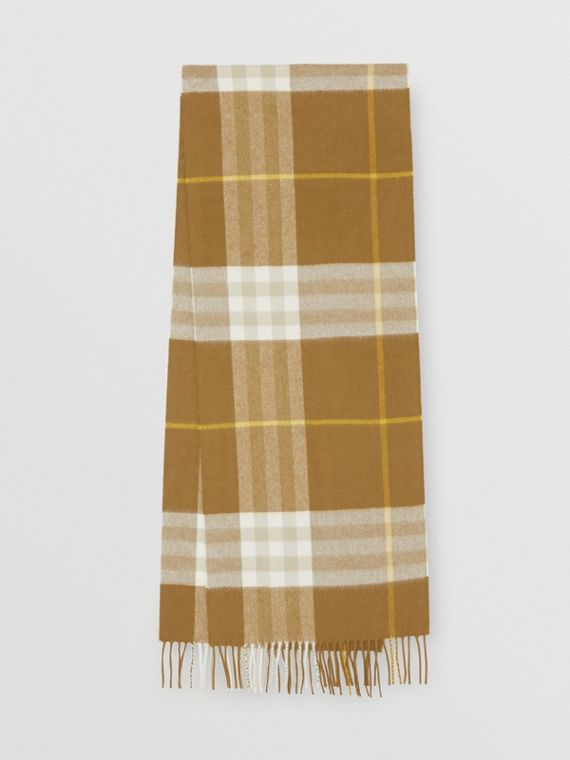 The Classic Check Cashmere Scarf in Deep Olive