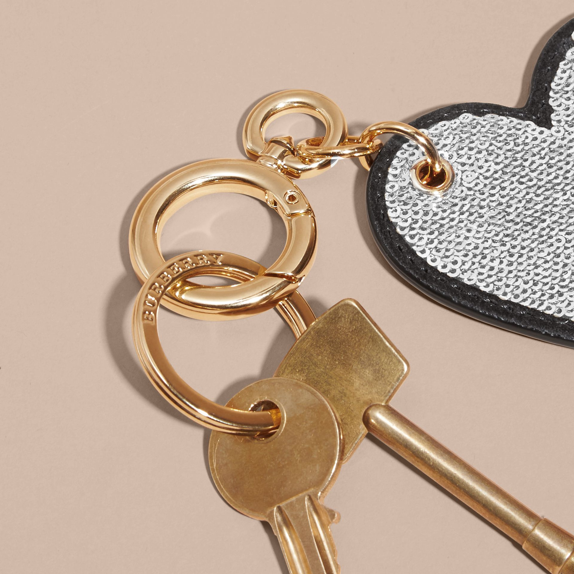 Sequinned Heart Key Charm in White/black - gallery image 4