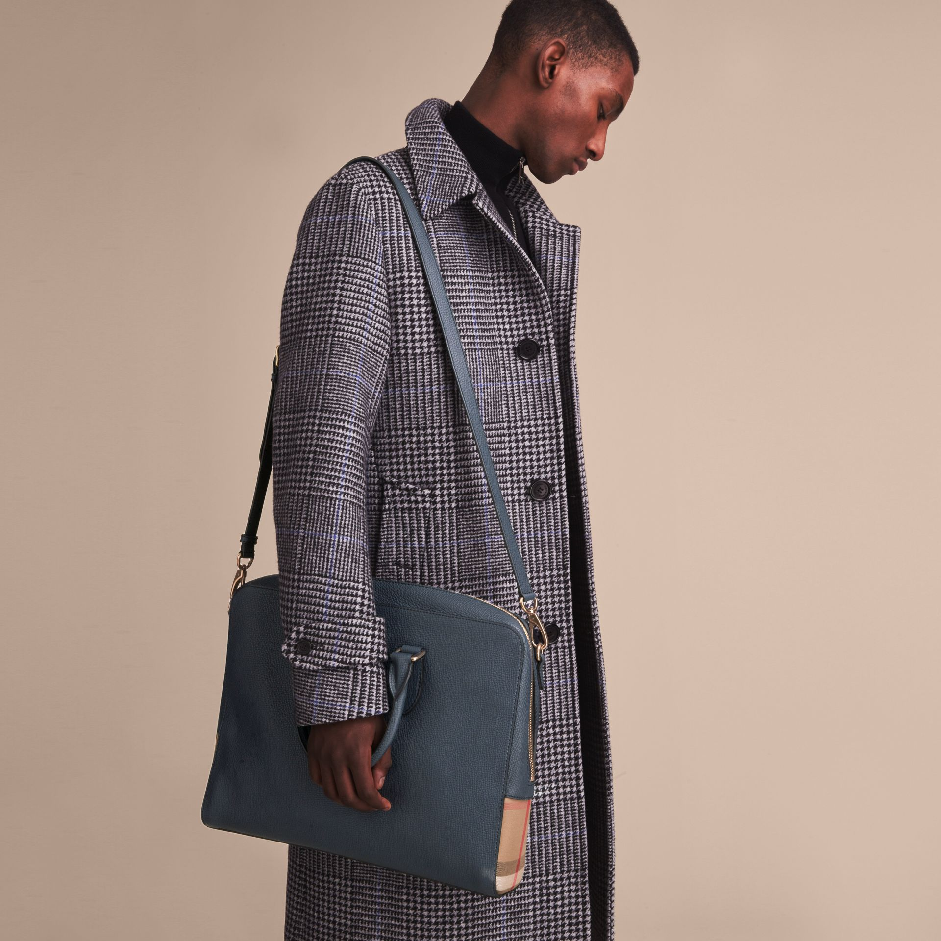 Leather and House Check Briefcase in Storm Blue - Men | Burberry - gallery image 4