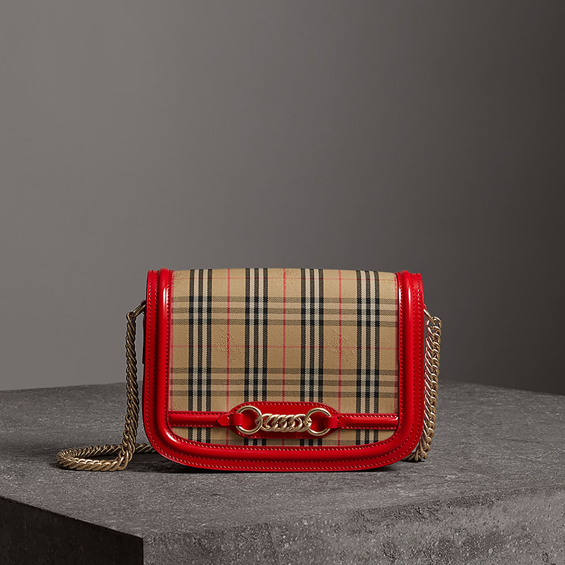 The 1983 Check Link Bag with Patent Trim in Bright Red - Women | Burberry - gallery image 0