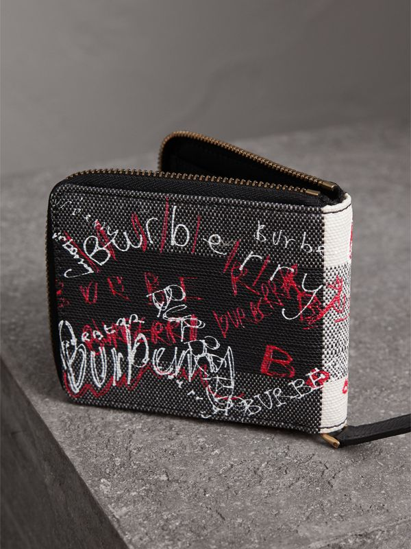 Doodle Print Coated Check Canvas Ziparound Wallet in Black - Men | Burberry - cell image 2