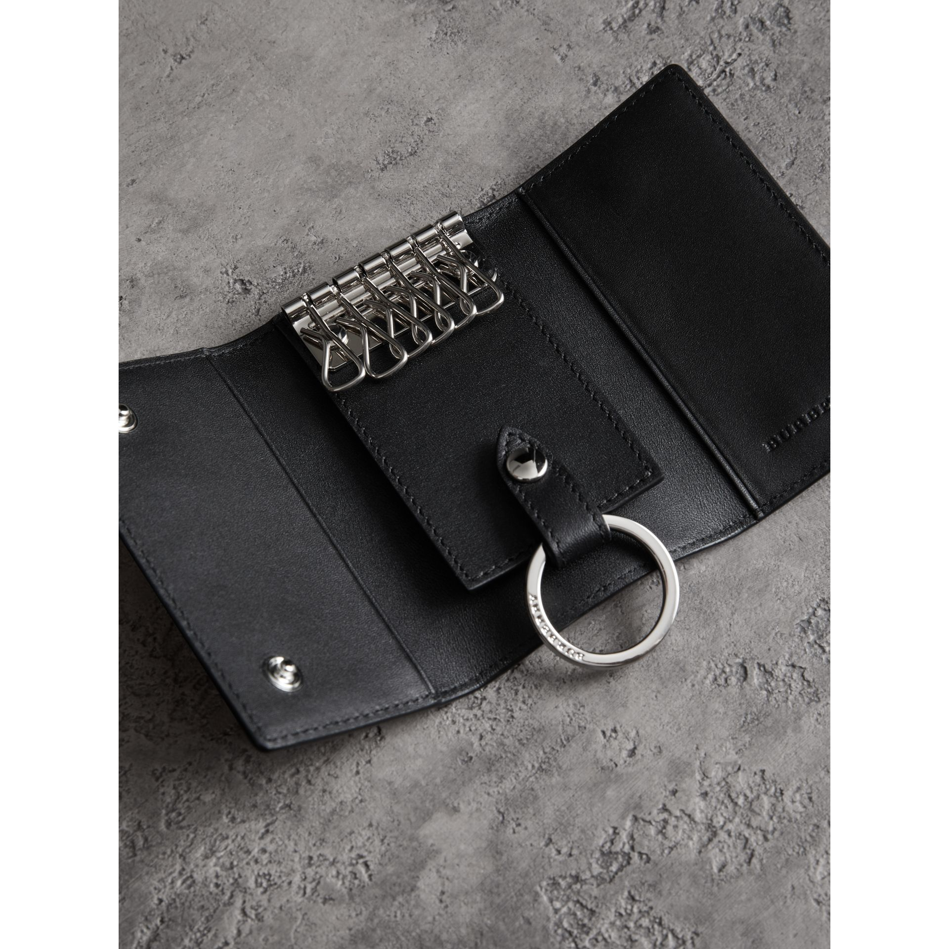 Leather Trim London Check Key Case in Charcoal/black - Men | Burberry - gallery image 2