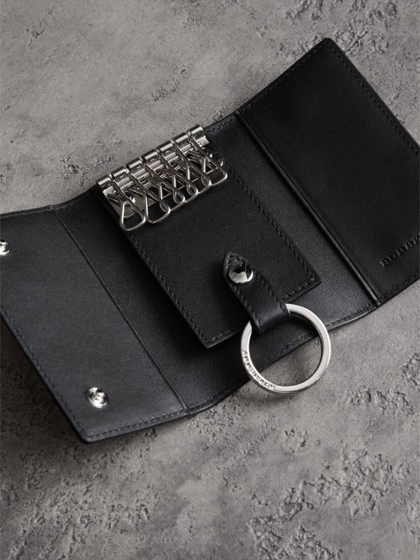 Leather Trim London Check Key Case in Charcoal/black - Men | Burberry United Kingdom - cell image 2