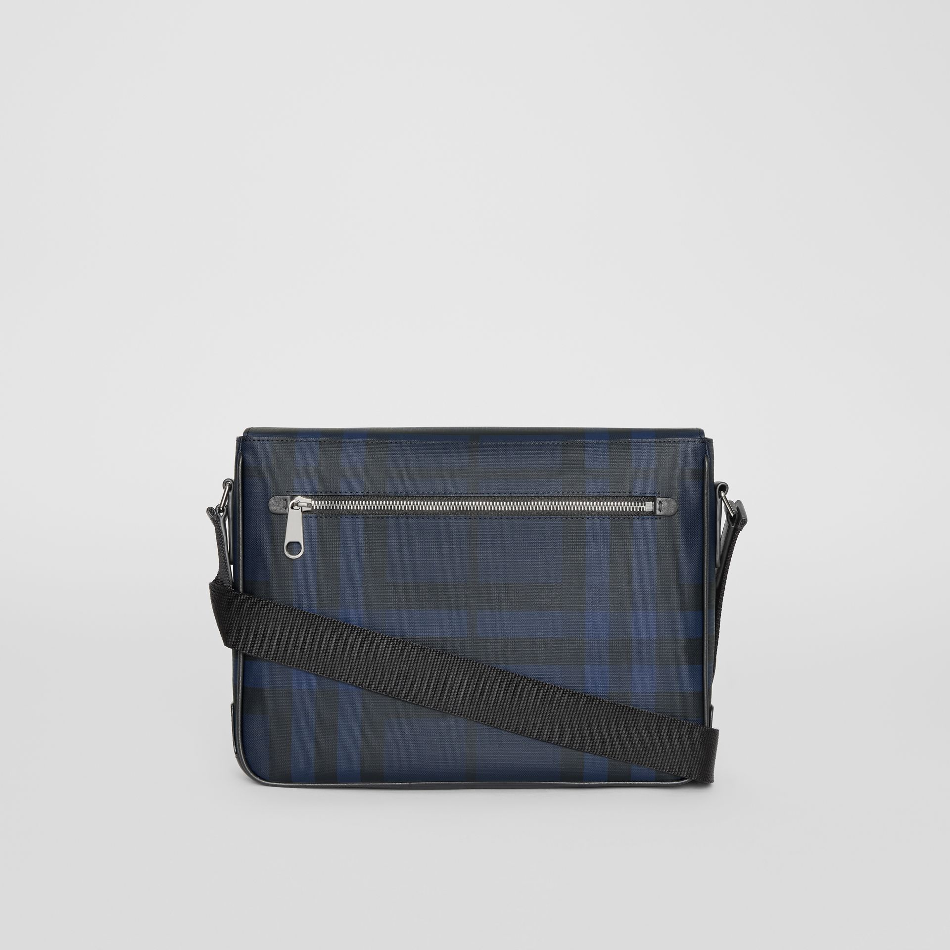 Small London Check Satchel in Navy/black - Men | Burberry Australia - gallery image 7