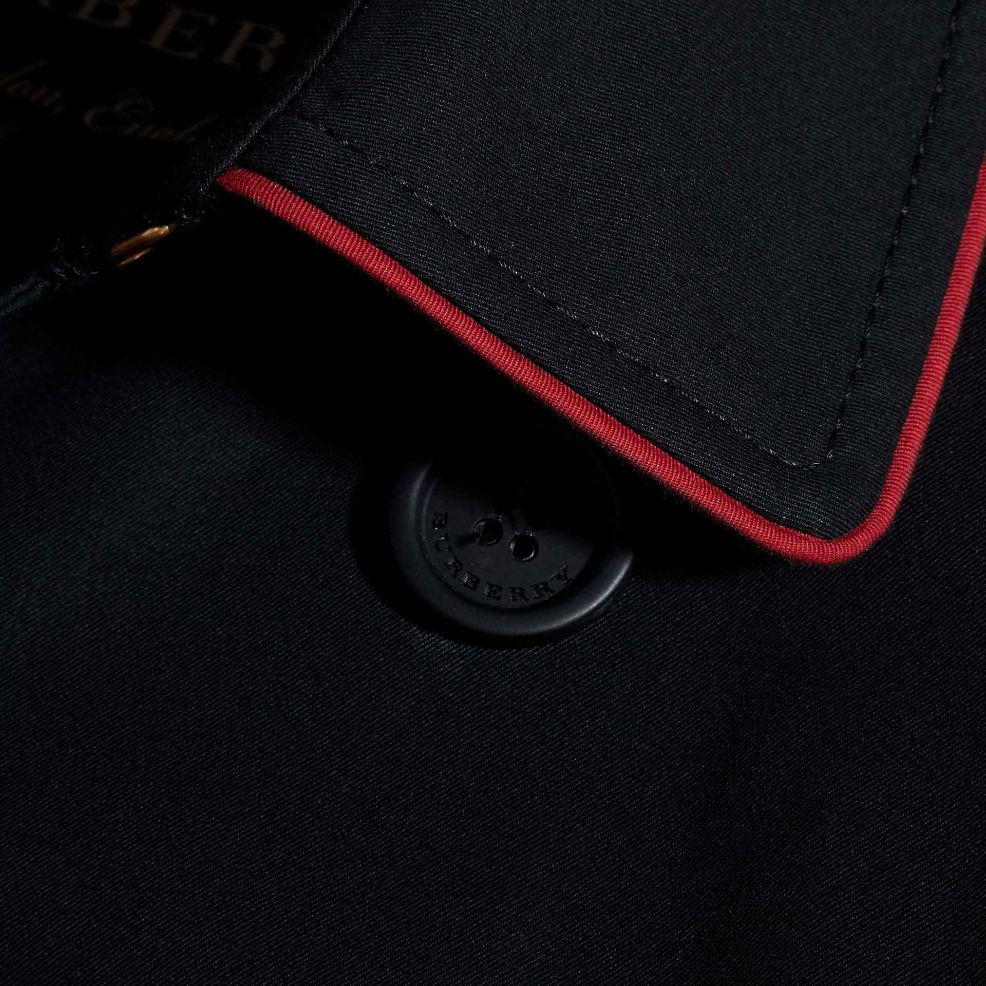 Black Military Detail Cotton Trench Coat - gallery image 2