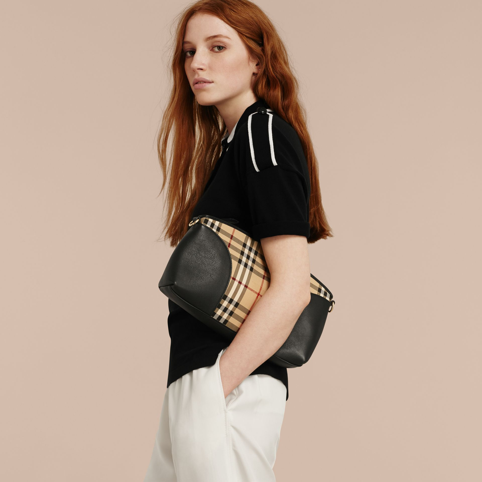 Horseferry Check and Leather Clutch Bag in Honey/black - gallery image 3