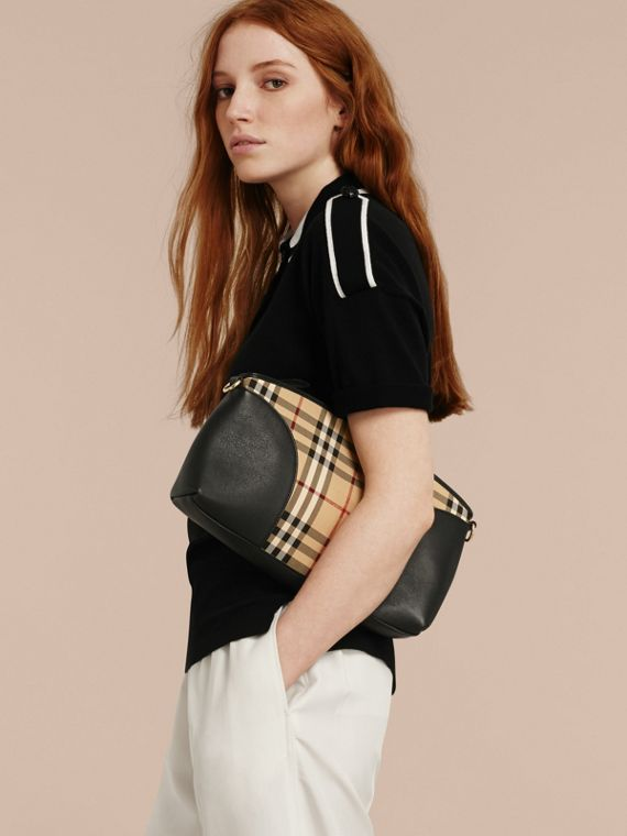 Horseferry Check and Leather Clutch Bag in Honey/black - cell image 2