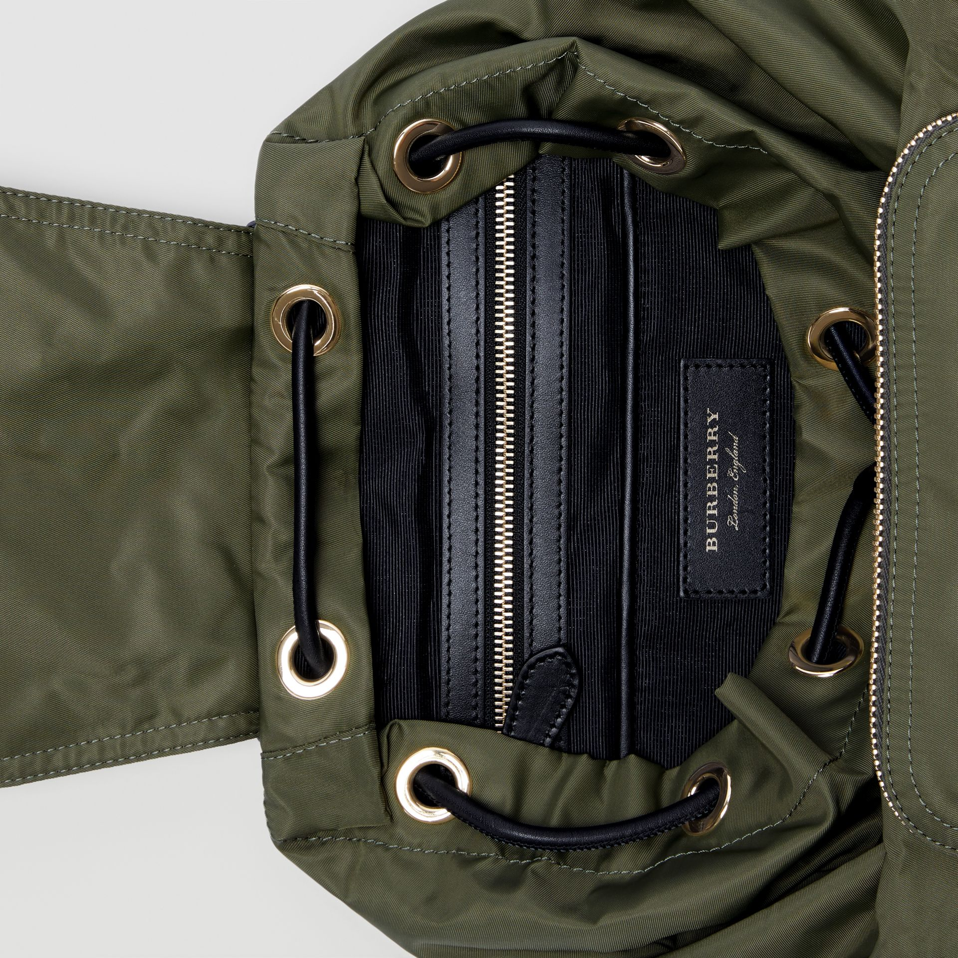 The Medium Rucksack in Technical Nylon and Leather in Canvas Green - Women | Burberry Canada - gallery image 4