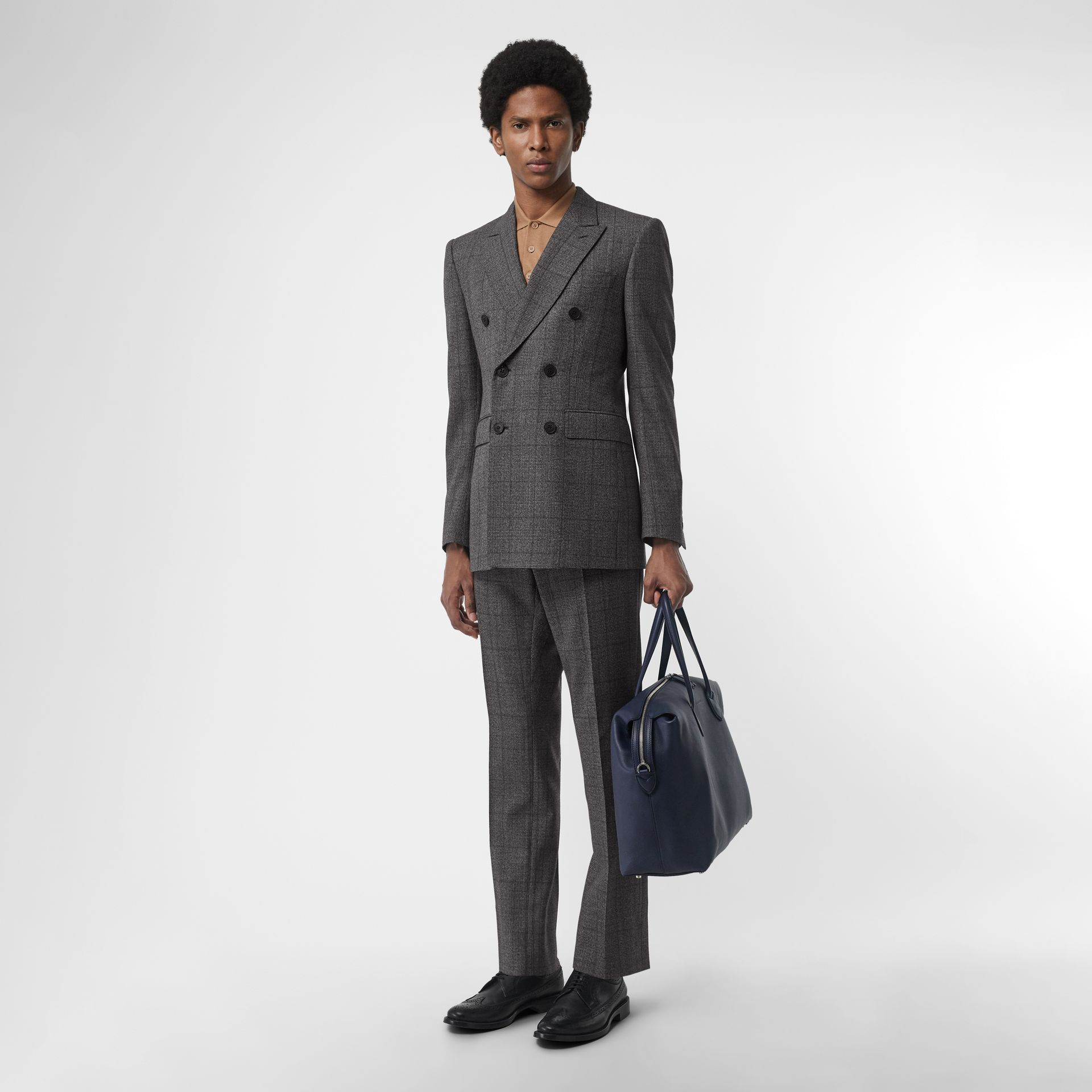 Classic Fit Prince of Wales Check Wool Suit in Charcoal Melange - Men | Burberry United Kingdom - gallery image 0