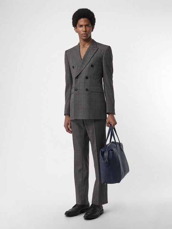 Classic Fit Prince of Wales Check Wool Suit in Charcoal Melange