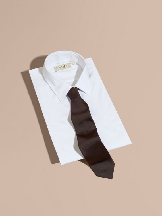 Modern Cut Silk Twill Tie in Charcoal - Men | Burberry - cell image 3