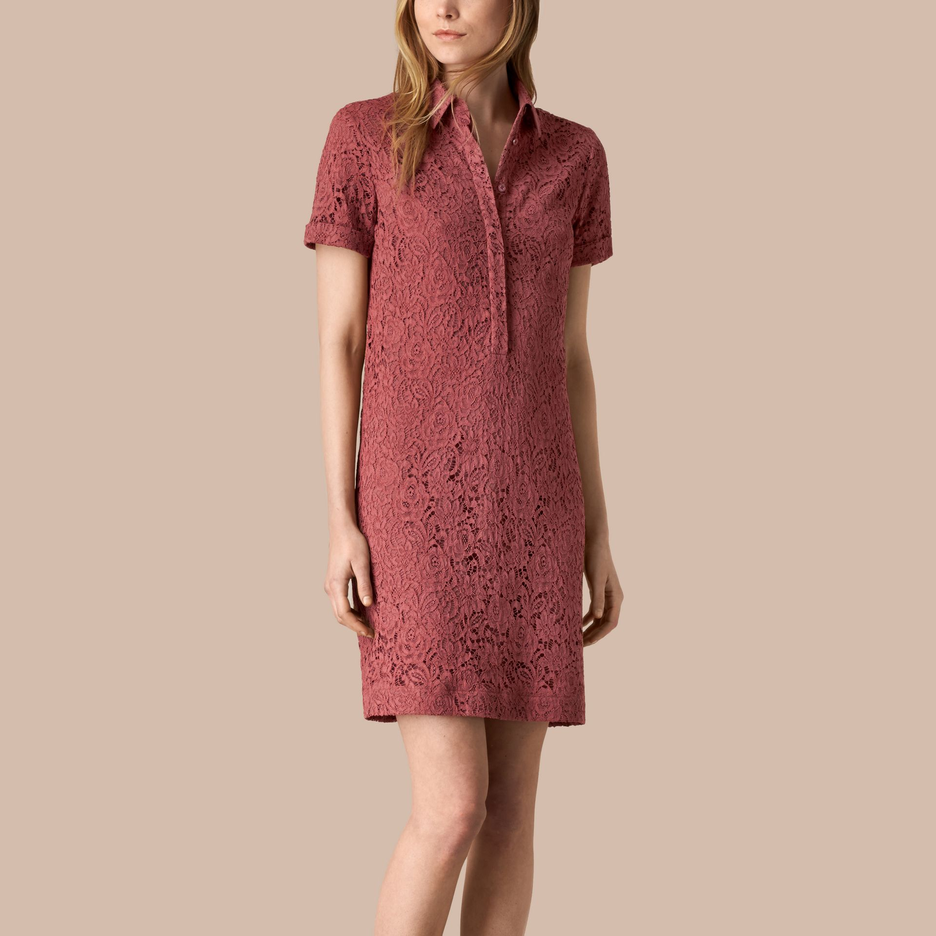 Mauve pink Floral Italian Lace Shirt Dress - gallery image 1