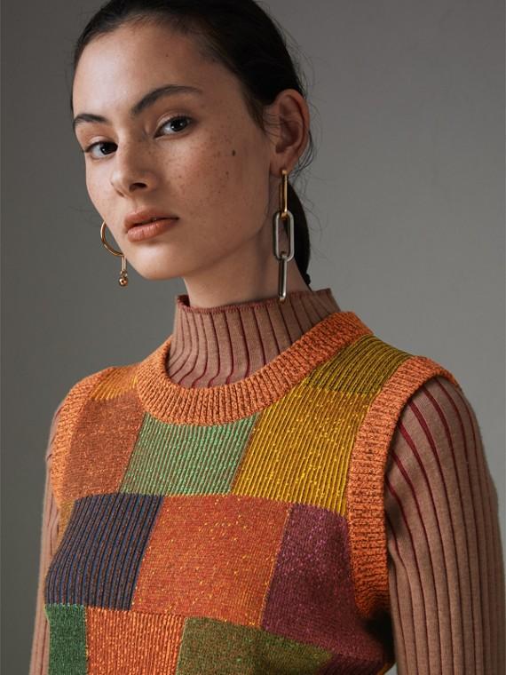 Pullunder aus Baumwolle im Patchworkdesign (Bernsteinfarben)