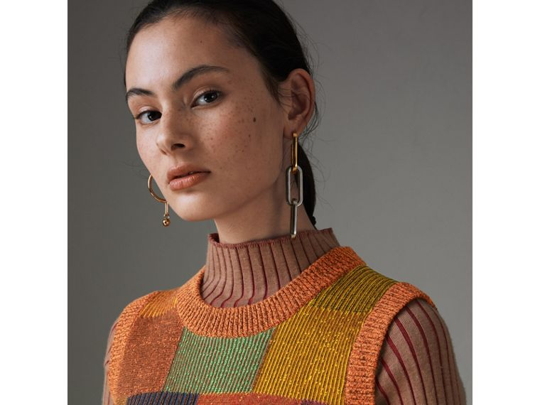 Patchwork Cotton Blend Tank Top in Amber - Women | Burberry United Kingdom - cell image 1