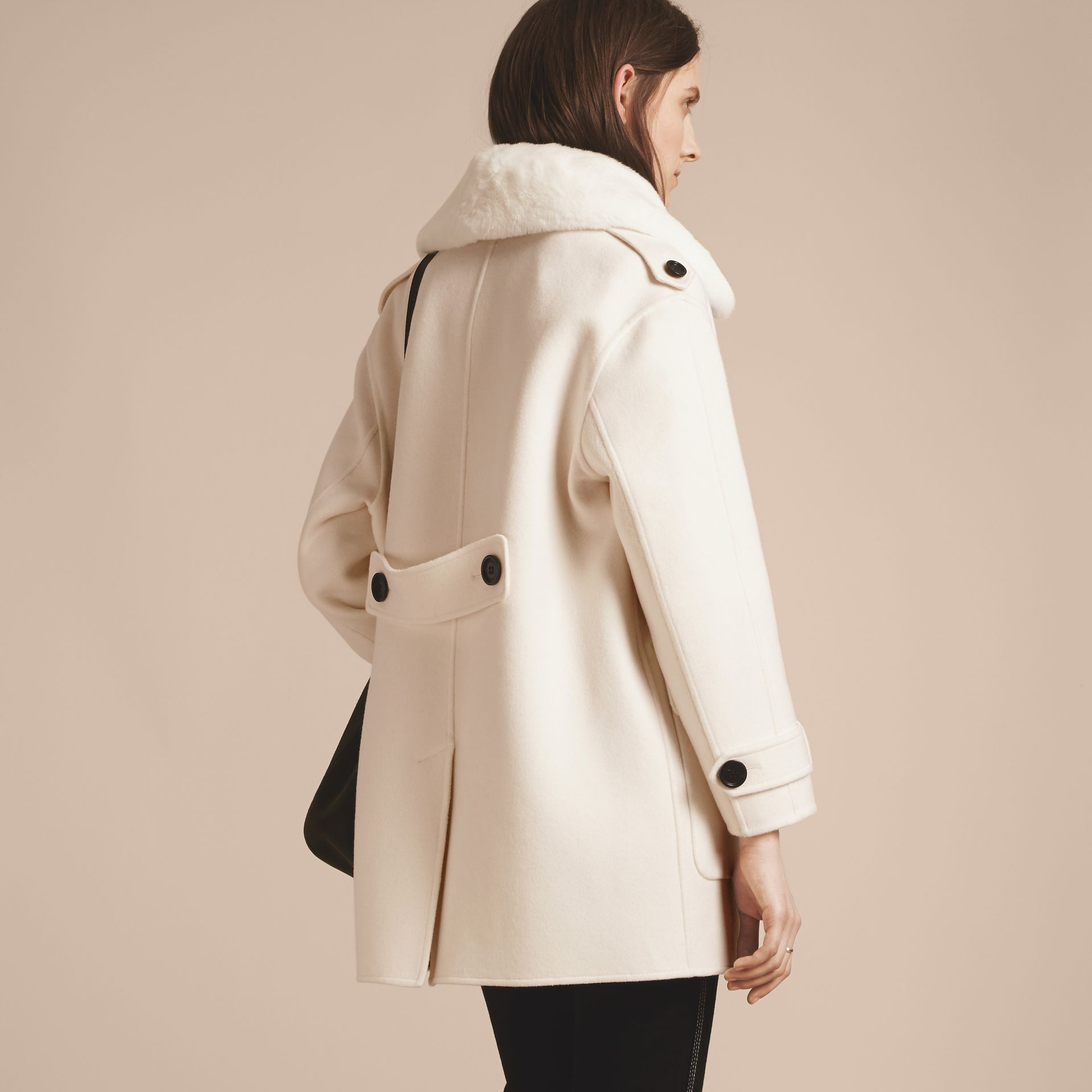 White Cashmere Duffle Coat with Detachable Fur Collar - gallery image 3