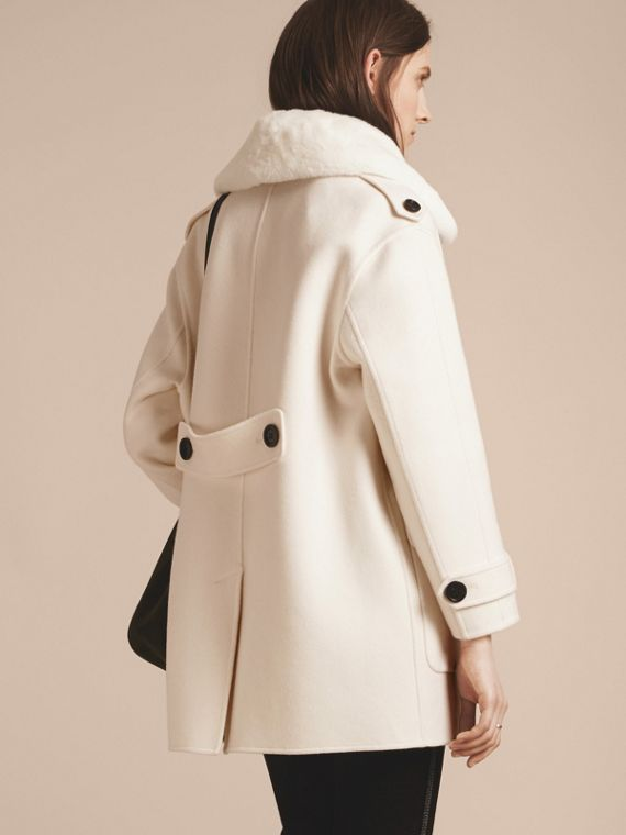 White Cashmere Duffle Coat with Detachable Fur Collar - cell image 2