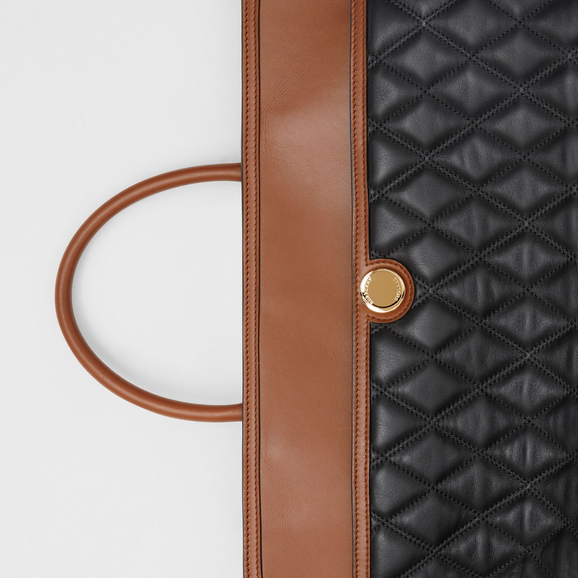 Quilted Lambskin Society Top Handle Bag in Black/brown - Women | Burberry United Kingdom - gallery image 7