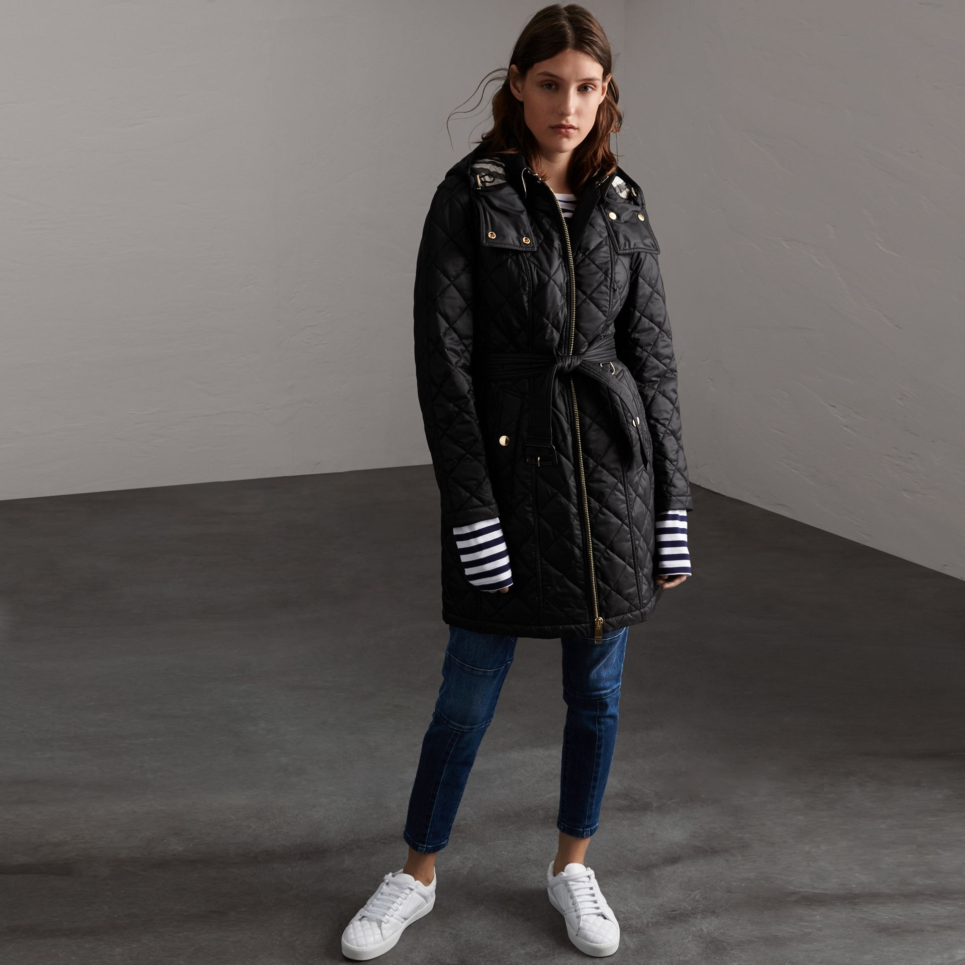 Detachable Hood Quilted Showerproof Parka in Black - Women | Burberry - gallery image 0