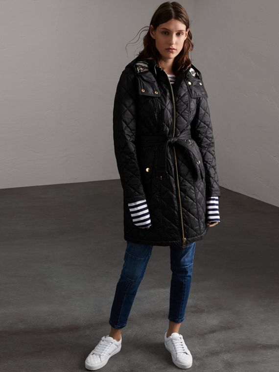 Detachable Hood Quilted Showerproof Parka in Black