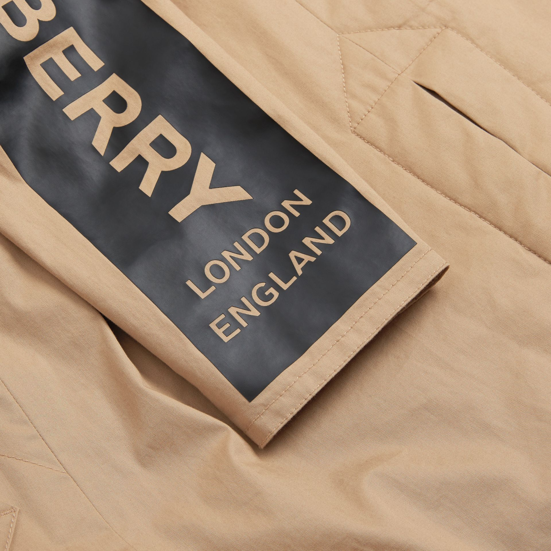 Detachable Hood Logo Print Cotton Twill Car Coat in Honey | Burberry United States - gallery image 1