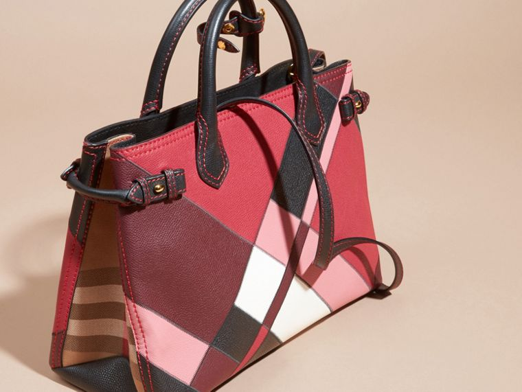 The Medium Banner in Colour Block Leather in Pink - Women | Burberry - cell image 4