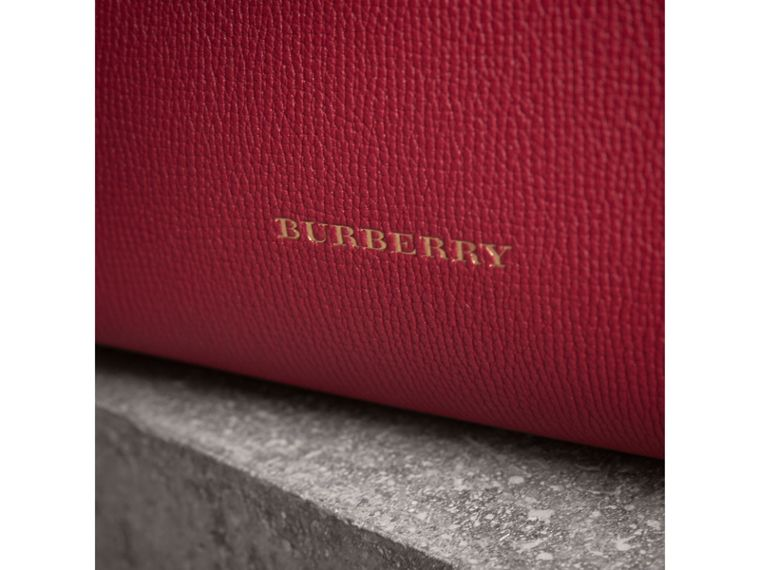The Small Banner in Leather and House Check in Russet Red - Women | Burberry Canada - cell image 1