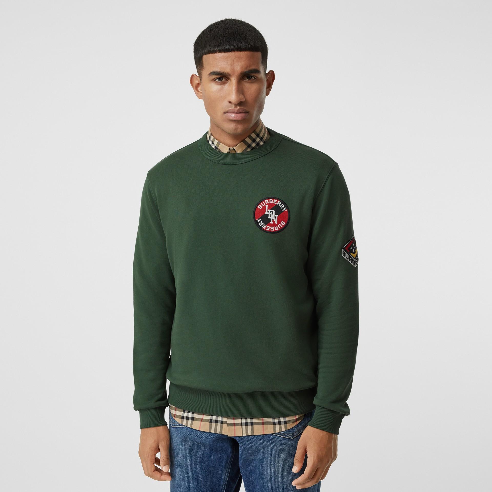 Logo Graphic Cotton Sweatshirt in Dark Pine Green - Men | Burberry - gallery image 0