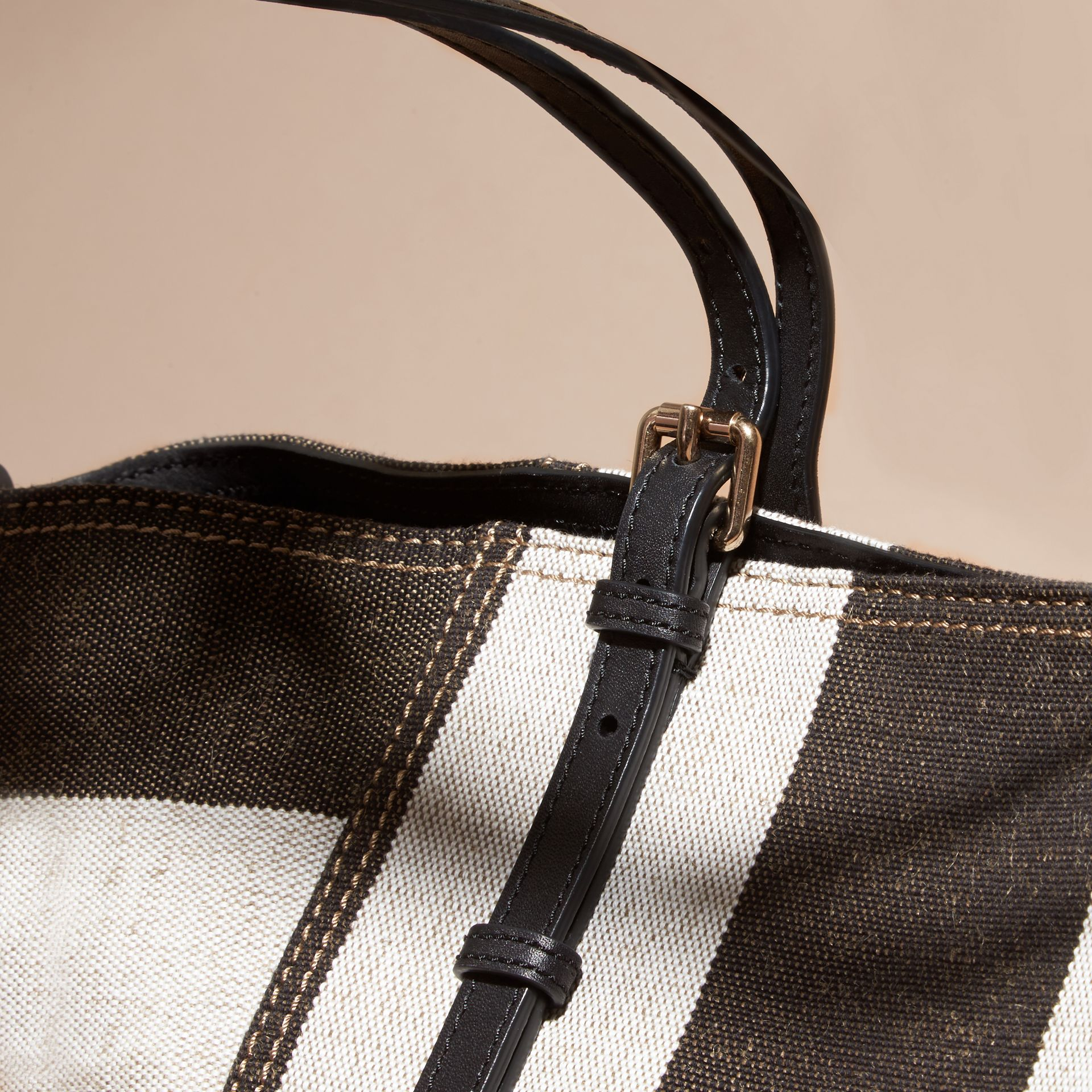 Black Striped Canvas Tote with Leather Trim - gallery image 5