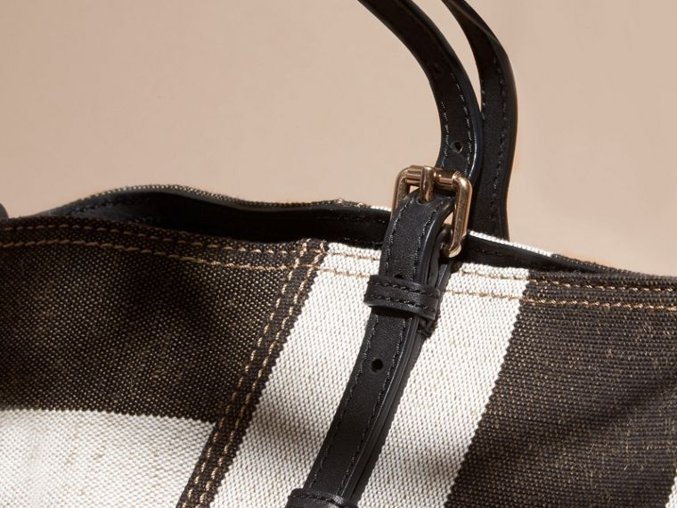 Black Striped Canvas Tote with Leather Trim - cell image 4