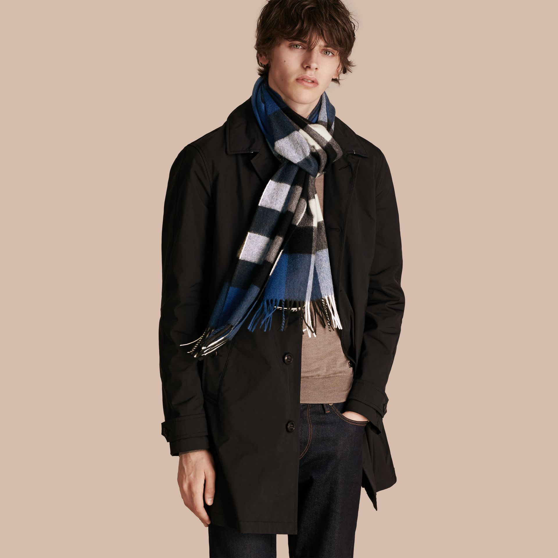 The Large Classic Cashmere Scarf in Check Marine Blue - gallery image 4