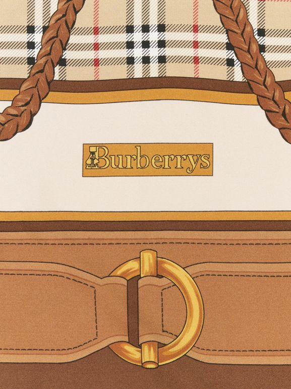 Reissued Archive Tassel Print Silk Square Scarf in Brown | Burberry - cell image 1