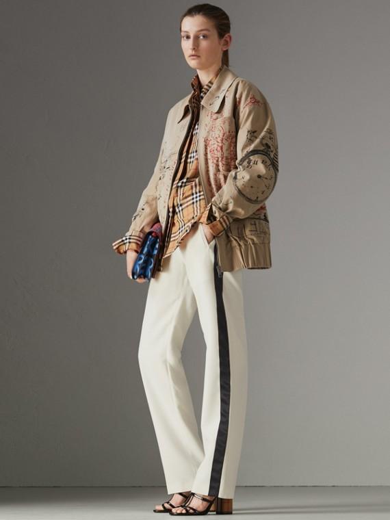 Calças de moletom em lã e seda com listras esportivas (Creme)