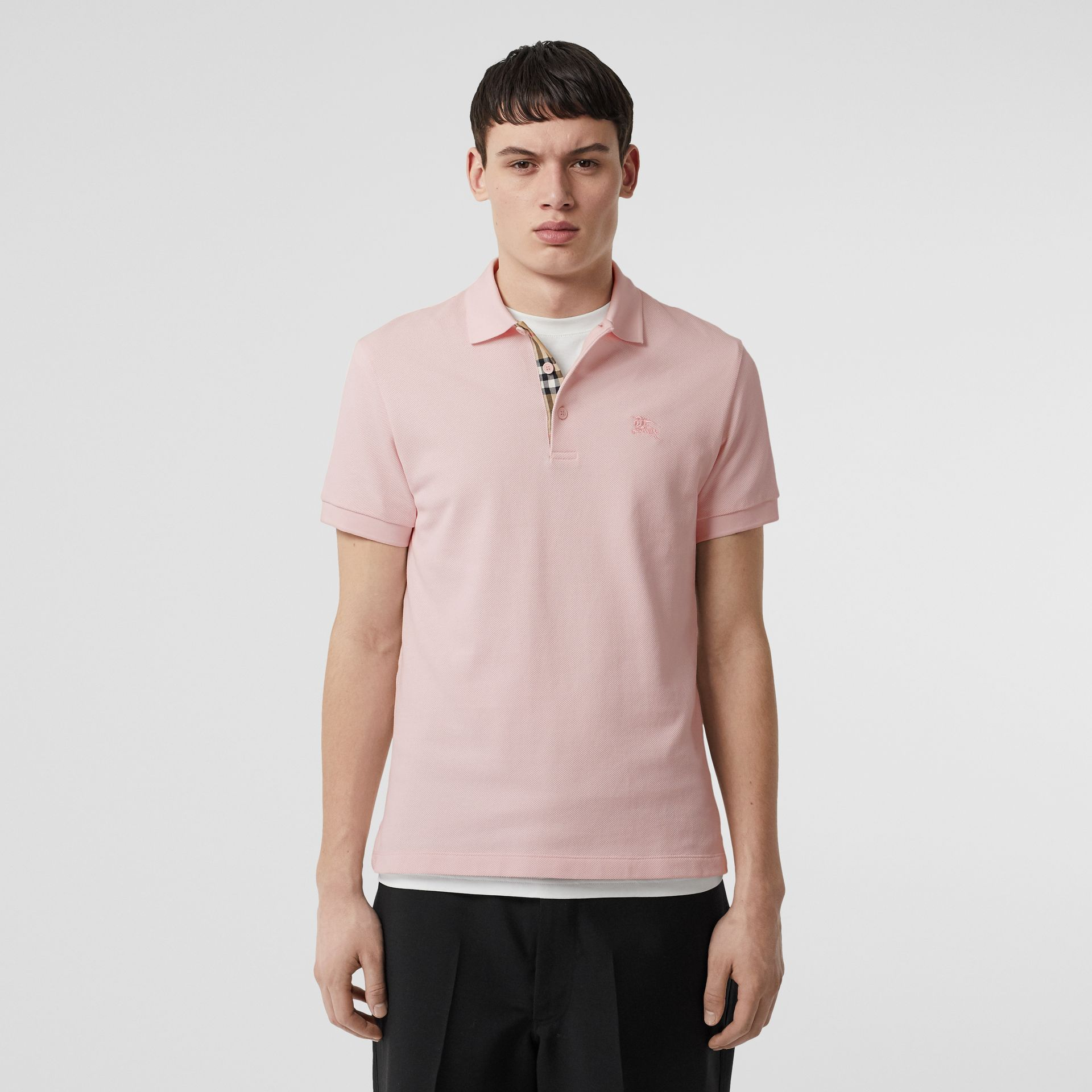 Check Placket Cotton Polo Shirt in Alabaster Pink - Men | Burberry - gallery image 0